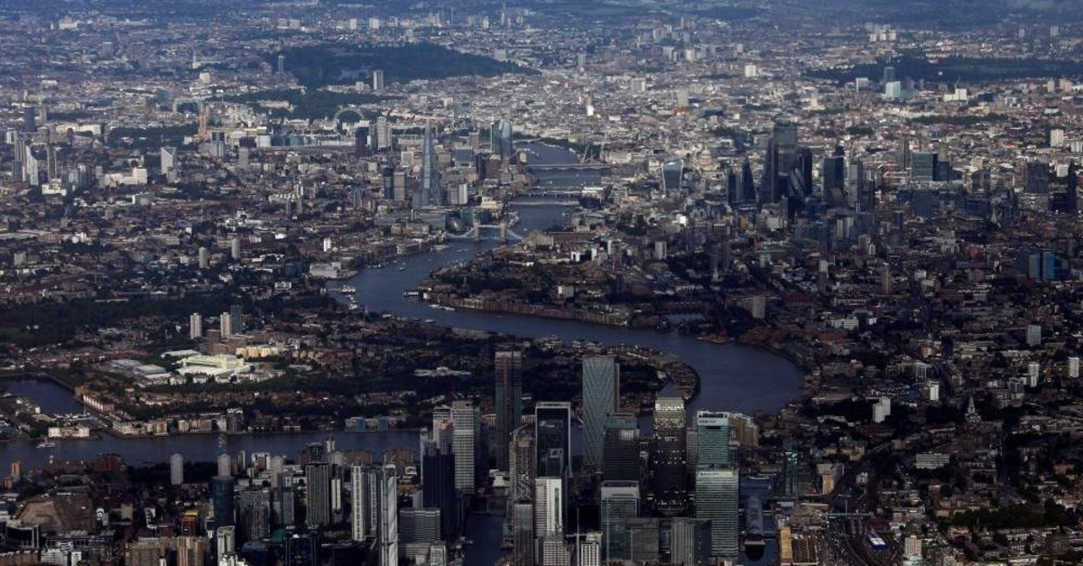 Canary Wharf and the City of London financial district in an aerial view of central London, Britain, Aug. 8, 2019. (Reuters Photo)