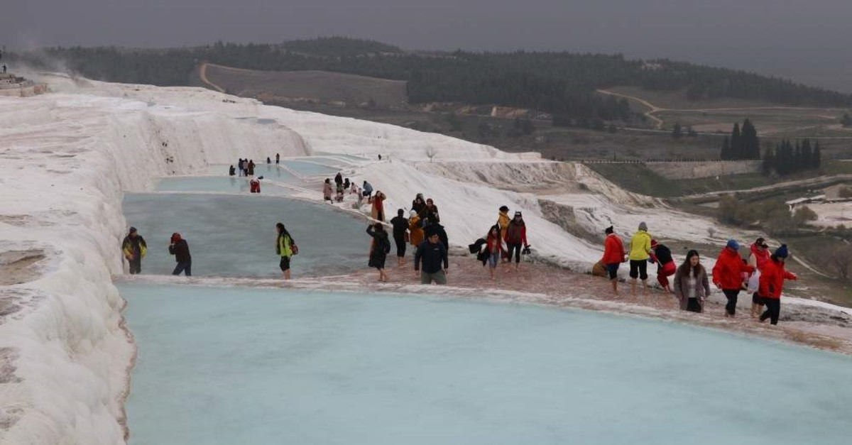 Pamukkale welcomed some 2.58 million visitors throughout 2019. (AA Photo)