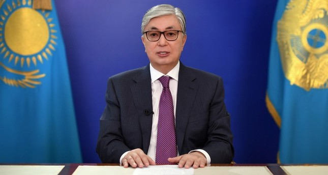 Kazakhstan's interim President Kassym-Jomart Tokayev speaks during a televised address to the nation to call a snap presidential election in Nur-Sultan, Kazakhstan in this handout photo released April 9, 2019 (Reuters Photo)