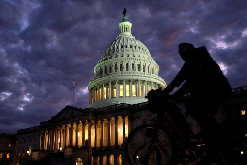Cyclists ride past the U.S. Capitol dome in Washington, U.S., on midterm election day, November 6, 2018. (Reuters Photo)