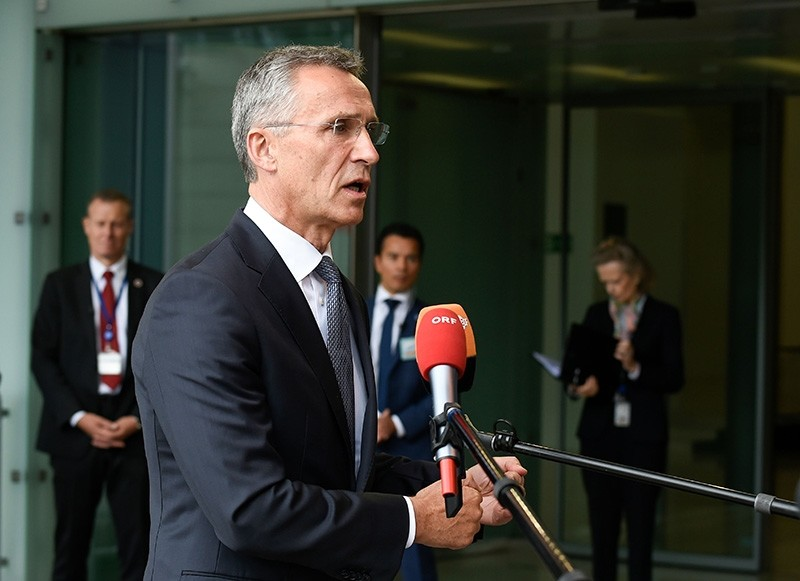 NATO Secretary-General Jens Stoltenberg answers journalists during a Foreign Affairs and Defense ministers meeting in Luxembourg on June 25, 2018. (AFP Photo)