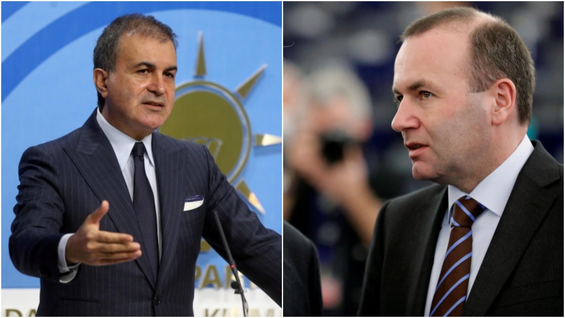 Combination photo shows AK Party Spokesperon u00d6mer u00c7elik (L) and Manfred Weber, Chairman of the EPP group. (AP/REUTERS Photos)