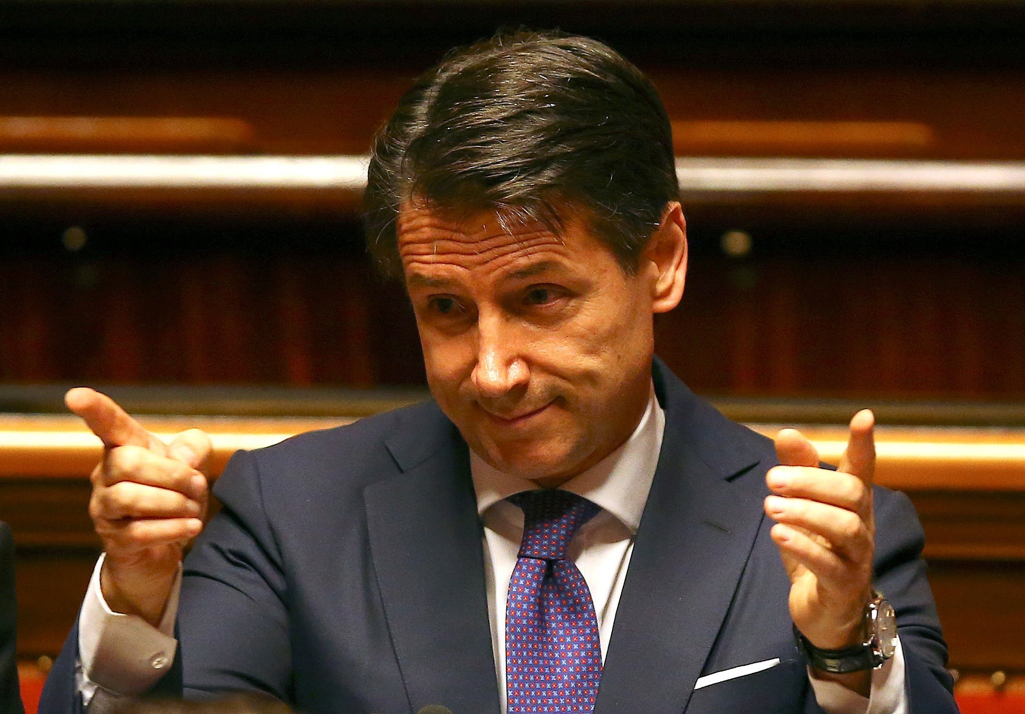 Newly appointed Italian Prime Minister Giuseppe Conte gestures during his first session at the Senate in Rome, Italy, June 5.