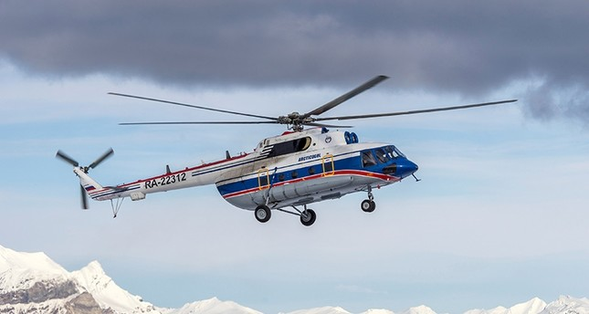A view shows the Russian-made Mil Mi-8 helicopter, that went missing October 26, 2017 with eight people aboard off the coast of the Arctic Svalbard archipelago, in the settlement of Barentsburg on Svalbard, Norway April 28, 2015. (Reuters Photo)