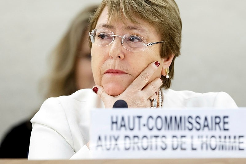 UN High Commissioner for Human Rights Chilean Michelle Bachelet looks on as she attends the opening of 39th session of the Human Rights Council, at the European headquarters of the United Nations in Geneva, Switzerland. (EPA Photo)