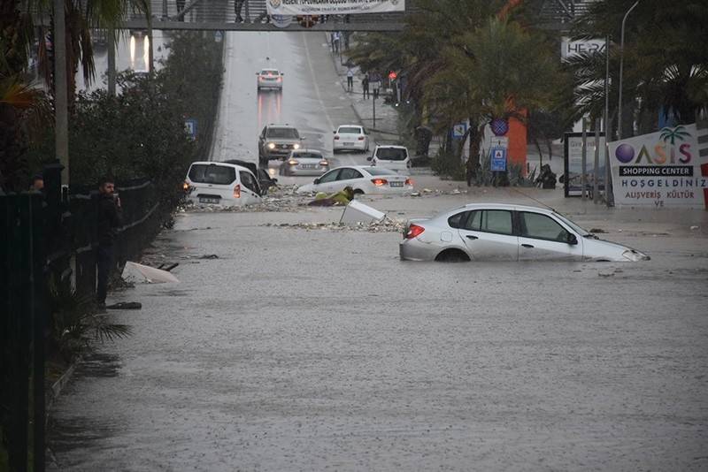 A street in Bodrum is flooded by heavy rainstorms on Nov. 29, 2018. (AA Photo)