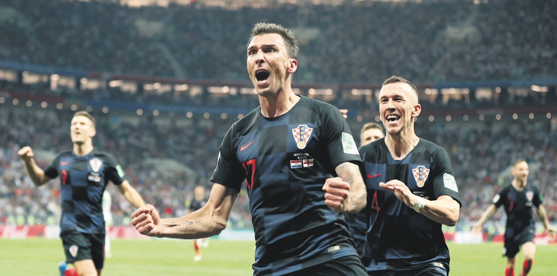Croatiau2019s Mario Mandzukic celebrates after scoring his sideu2019s second goal during the semifinal match against England on July 11.