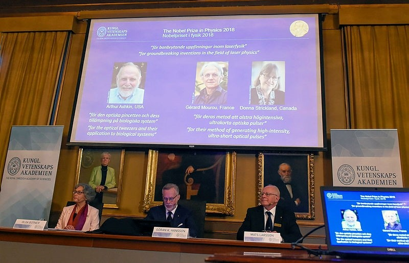 The Nobel Prize laureates for physics 2018 are announced at the Royal Swedish Academy of Sciences in Stockholm, Sweden, 02 October 2018. (EPA Photo)