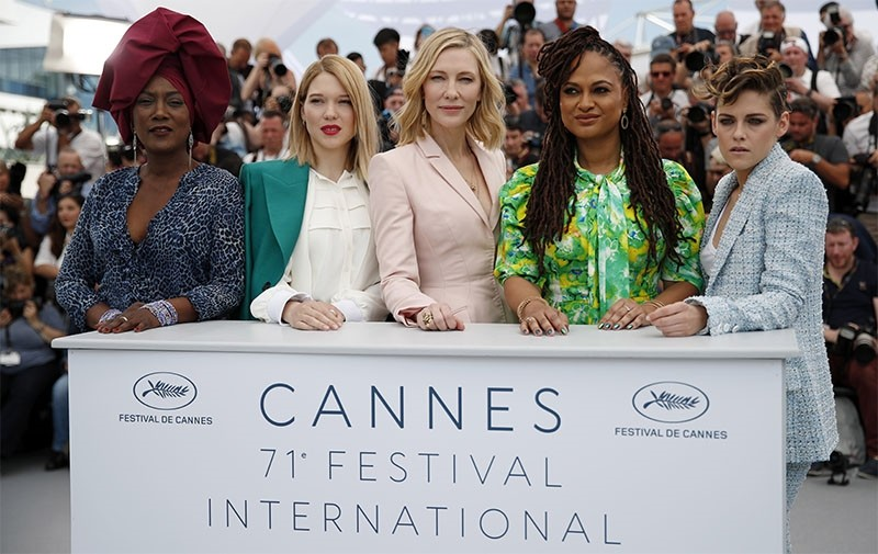 Jury Members (R-L) Kristen Stewart, Ava DuVernay, Cate Blanchett, Lea Seydoux and Khadja Nin pose during the jury photocall at the 71st annual Cannes Film Festival, in Cannes, France, May 8, 2018. (EPA Photo)