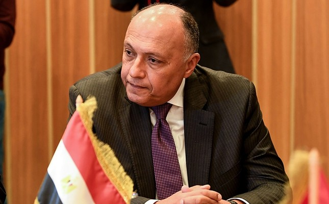 Egyptian Foreign Minister Sameh Shoukry attends a meeting with his Algerian and Tunisian counterparts to discuss efforts to resolve the Libyan conflict in the capital Tunis on Dec. 17, 2017. (AFP Photo)