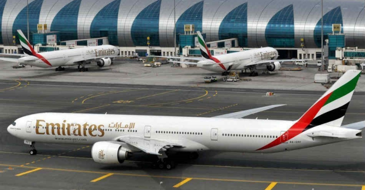In this March 22, 2017 photo, an Emirates plane taxis to a gate at Dubai International Airport at Dubai International Airport in Dubai, United Arab Emirates. (AP Photo)