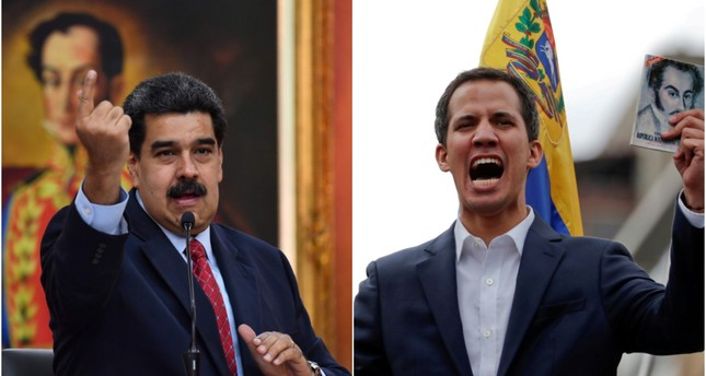 This combination of photos shows Venezuela's President Nicolas Maduro (R) speaking during a press conference and National Assembly head Juan Guaido talking to the crowd during a mass opposition rally. (AFP/REUTERS Photos)