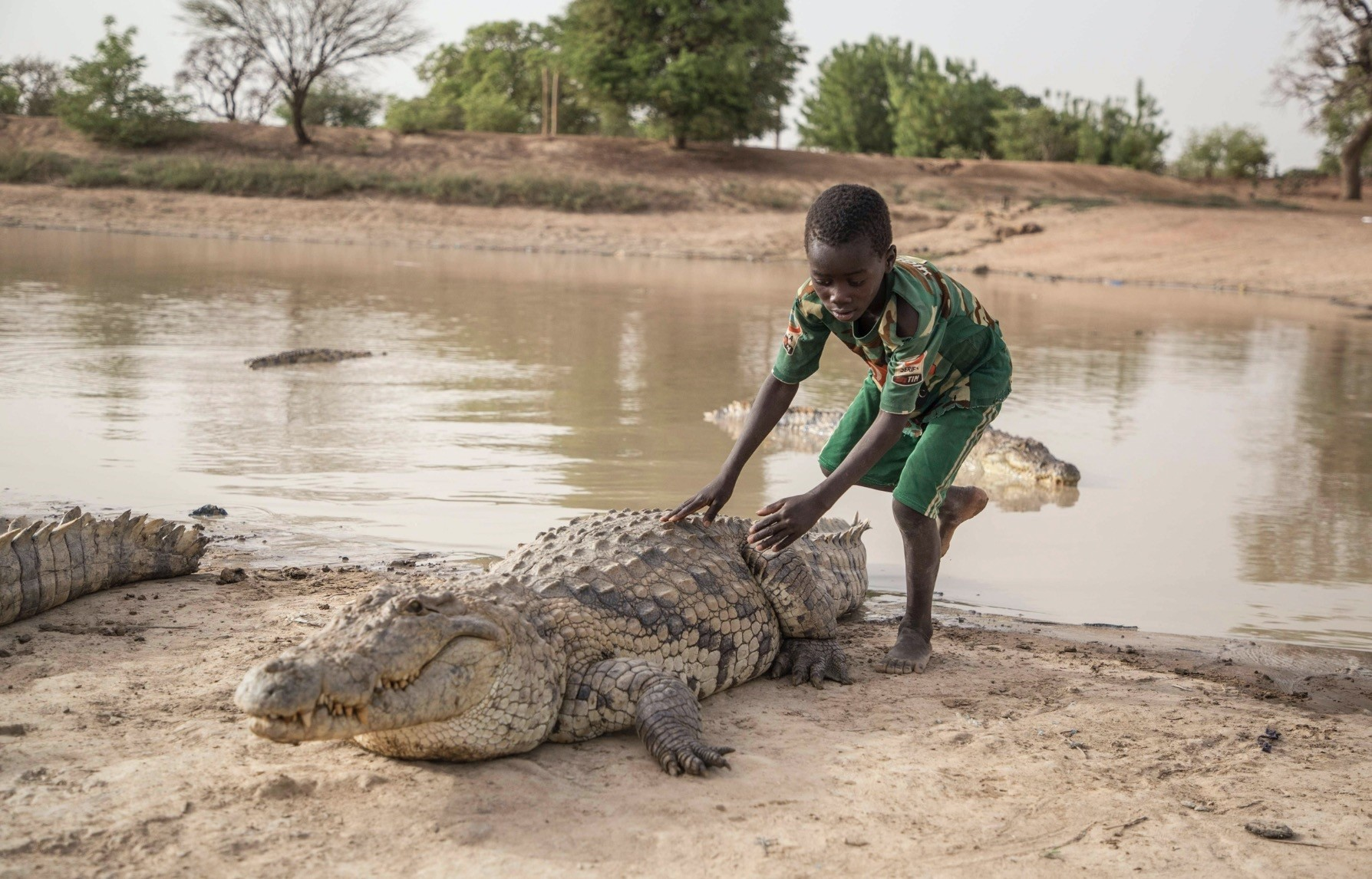 A boy leans on the back of a crocodile at a pond in Bazoule in Burkina Faso, a village which happily shares its local pond with u2018sacredu2019 crocodiles.