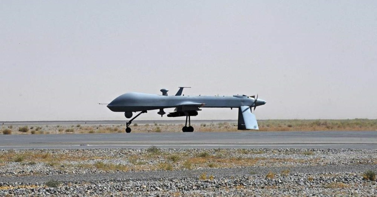 This June 13, 2010, file photo shows a U.S. Predator unmanned drone armed with a missile standing on the tarmac at Kandahar military airport, Afghanistan. (Reuters Photo)