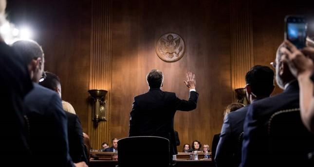 U.S. Supreme Court nominee Judge Brett Kavanaugh is sworn in before testifying at the Senate Judiciary Committee on Capitol Hill, Washington, Sept. 27.