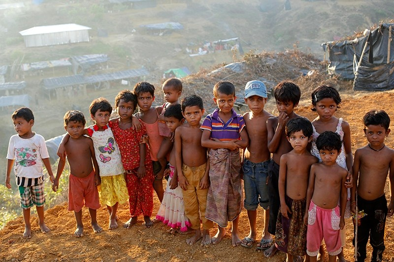 Rohingya children pose for a photograph at the top of the Balukhali camp in Ukhiya, Bangladesh, Sept. 15, 2017. (EPA Photo)