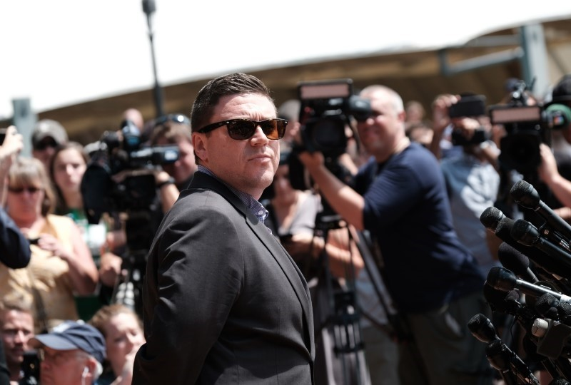 Unite The Right rally organizer Jason Kessler attempts to speak at a press conference in front of Charlottesville City Hall in Charlottesville, Virginia, August 13, 2017. (REUTERS Photo)