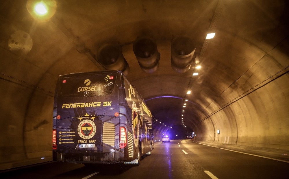 The bus carrying Fenerbahu00e7e players heads to Istanbul after the match on Dec. 9.