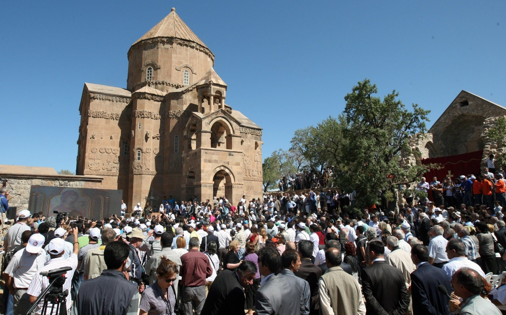 The church on Akdamar island last hosted an annual religious service in 2014. Acting Armenian Patriarch Aram Ateu015fyan (below) says there is huge interest in the service.
