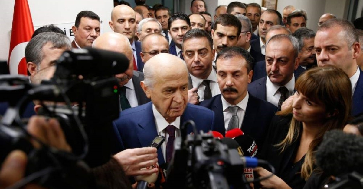 MHP Chairman Devlet Bahu00e7eli speaks to reporters on Oct. 26, 2019 (AA Photo)
