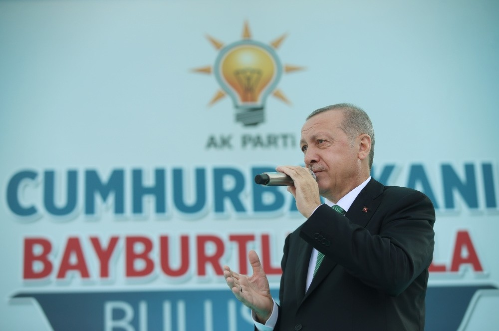 President Recep Tayyip Erdou011fan addresses his supporters in northeastern Bayburt province, on Friday.