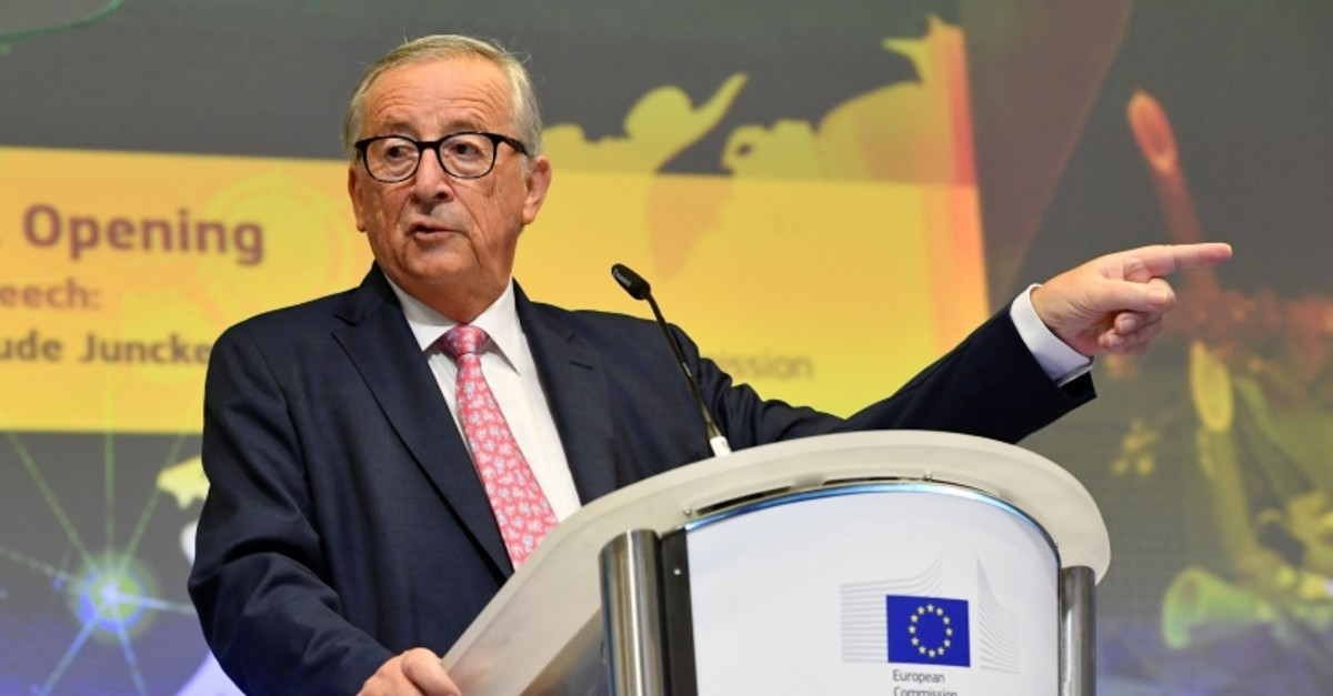 European Commission President Jean-Claude Juncker gives a speech during Partnership on Sustainable Connectivity and quality infrastructure between European and Japan signing ceremony in Brussels on September 27, 2019. (AFP Photo)