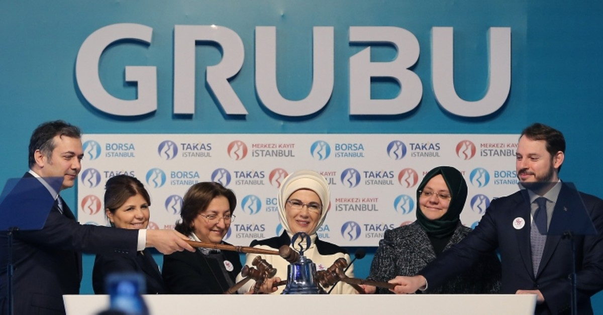 First Lady Emine Erdou011fan and Turkish ministers participate in a special opening bell ceremony at Borsa Istanbul to mark International Women's Day, March 8, 2019. (AA Photo)