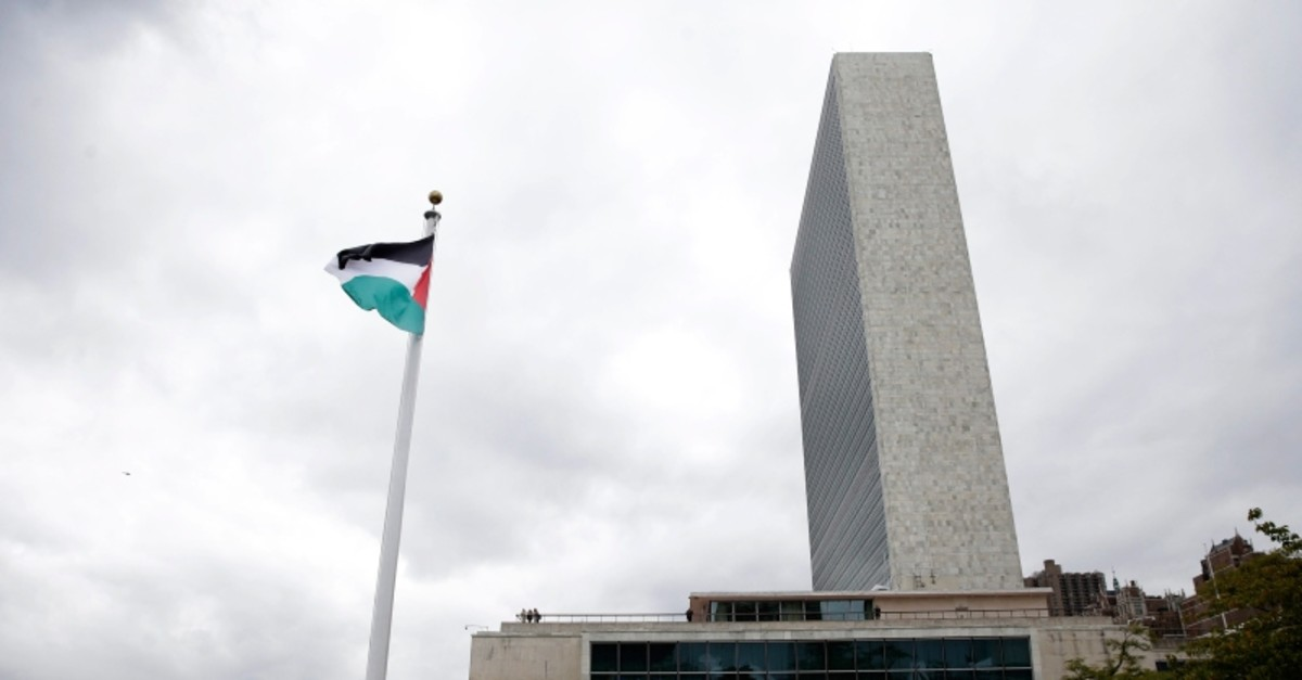 The State of Palestine flag flies for the first time at U.N. headquarters, Wednesday, Sept. 30, 2015. (AP Photo)