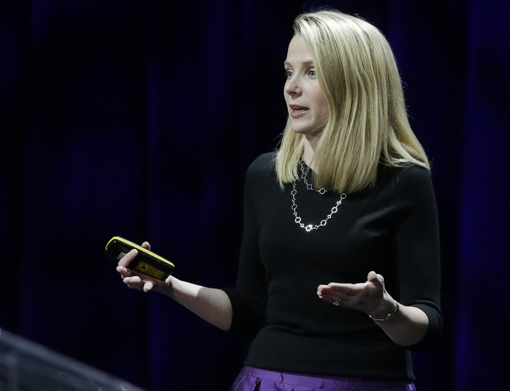 Yahoo President and CEO Marissa Mayer delivers the keynote address at the first-ever Yahoo Mobile Developer Conference, in San Francisco.