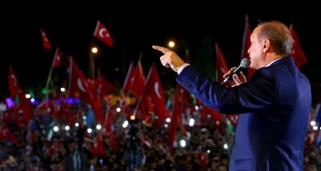 President Erdoğan addressing a mass crowd at the Presidential Complex in Ankara on Wednesday.
