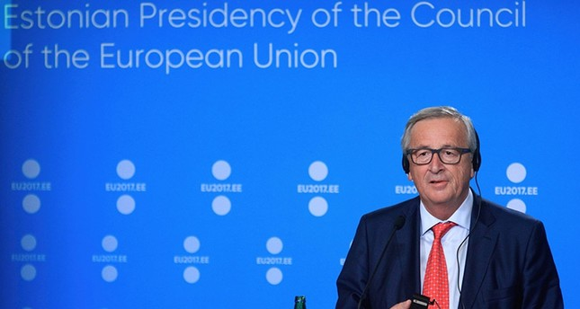 President of the European Commission Jean-Claude Juncker holds a press conference to mark the start of Estonia's six month rotating EU presidency at the Creative Hub (Kultuurikatel) in Tallinn, on June 30, 2017. (AFP Photo)