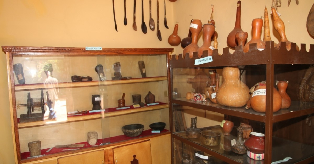 There are antique items like clothing, agricultural instruments, and weaving products at the museum. (AA Photo)