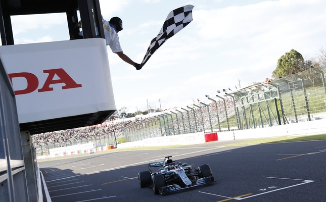Lewis Hamilton crossing the finish line in last year's Japanese Grand Prix.