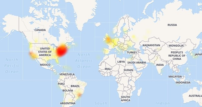 Screenshot from downdetector.com shows Youtube outages around the world on June 3, 2019.