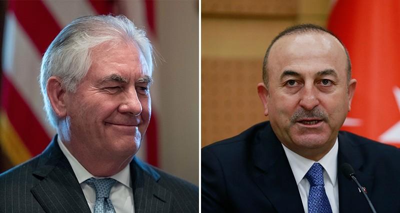 US State Secretary Rex Tillerson (L) and Turkish Foreign Minister Mevlu00fct u00c7avuu015fou011flu.