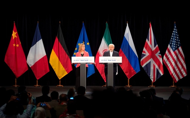 In this file photo taken on July 14, 2015 (L-R) High Representative of the EU for Foreign Affairs and Security Policy Mogherini and Iranian FM Zarif attend a final press conference of Iran nuclear talks in Vienna. (AFP Photo)