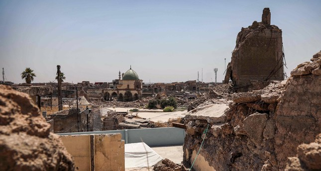 A view of the damaged site of the Great Mosque of al-Nuri in Iraq's war-ravaged Old City of Mosul, Aug. 10, 2019.
