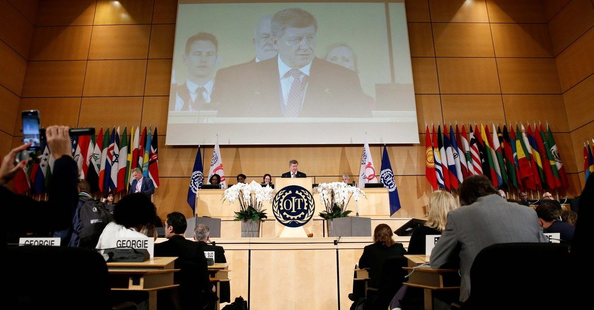 Director-General of the International Labour Organization (ILO) Guy Ryder speaks during the 108th ILO International Labour Conference at the United Nations in Geneva, Switzerland June 10, 2019. (Reuters Photo)