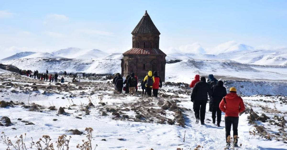 The ambassadors visited Ani, the ,forgotten city on the Silk Route, as part of their trip to Kars. (AA Photo)