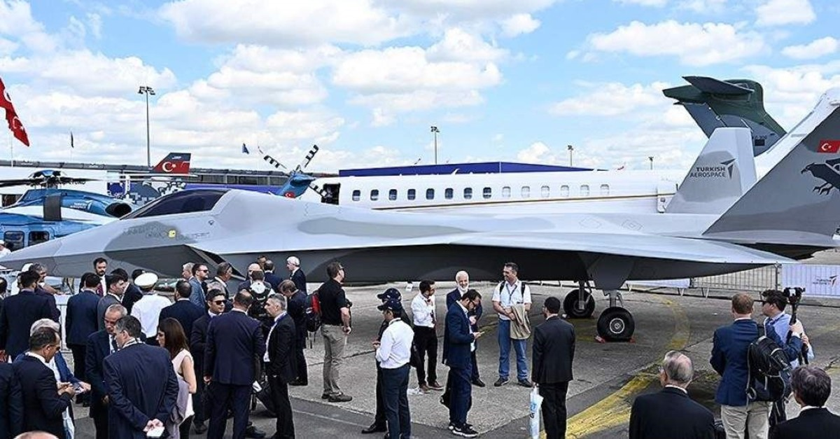 A mock-up of Turkey's first domestically built national combat aircraft was unveiled at the Paris Air Show in June 2019. (AA Photo)