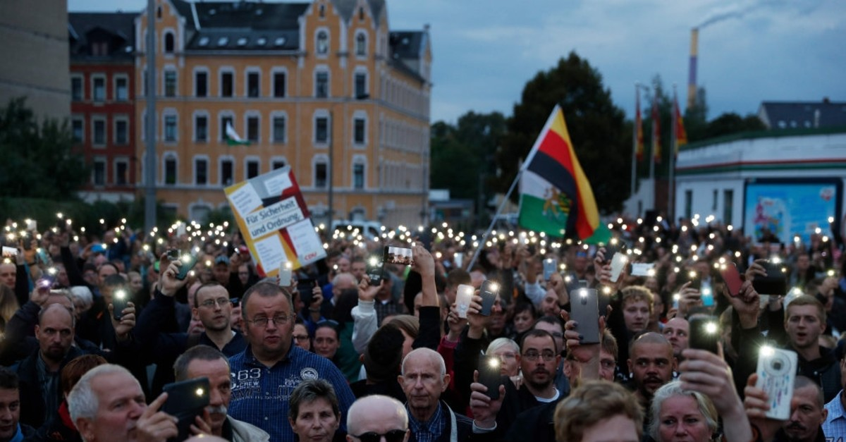 The far-right group ,Pro-Chemnitz, stages a protest, Chemnitz, Aug. 30, 2018.