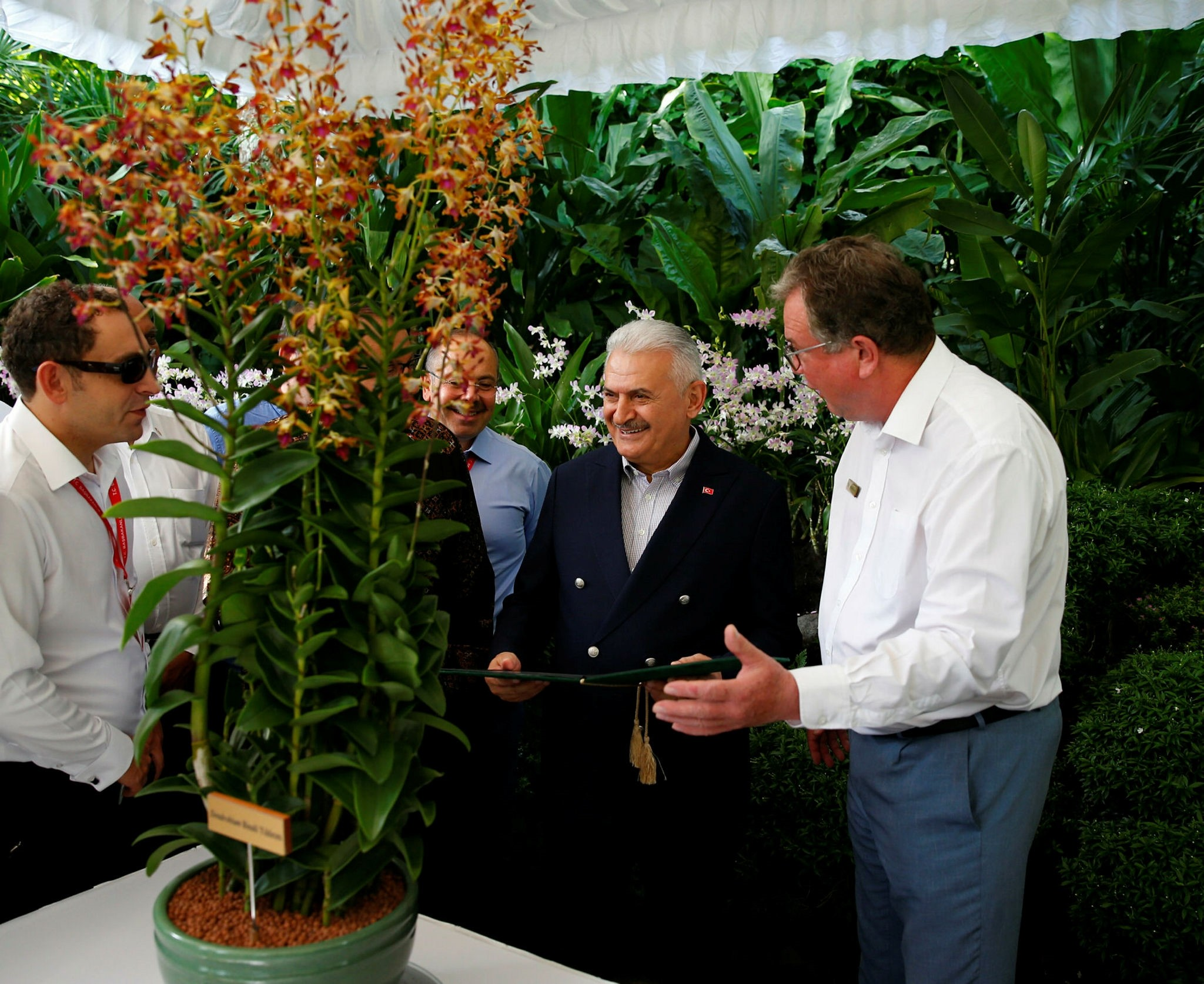 PM Yu0131ldu0131ru0131m (2-R) is briefed by director of Singaporeu2019s National Orchid Garden, Dr. Kwik Tan (R) (AA Photo)