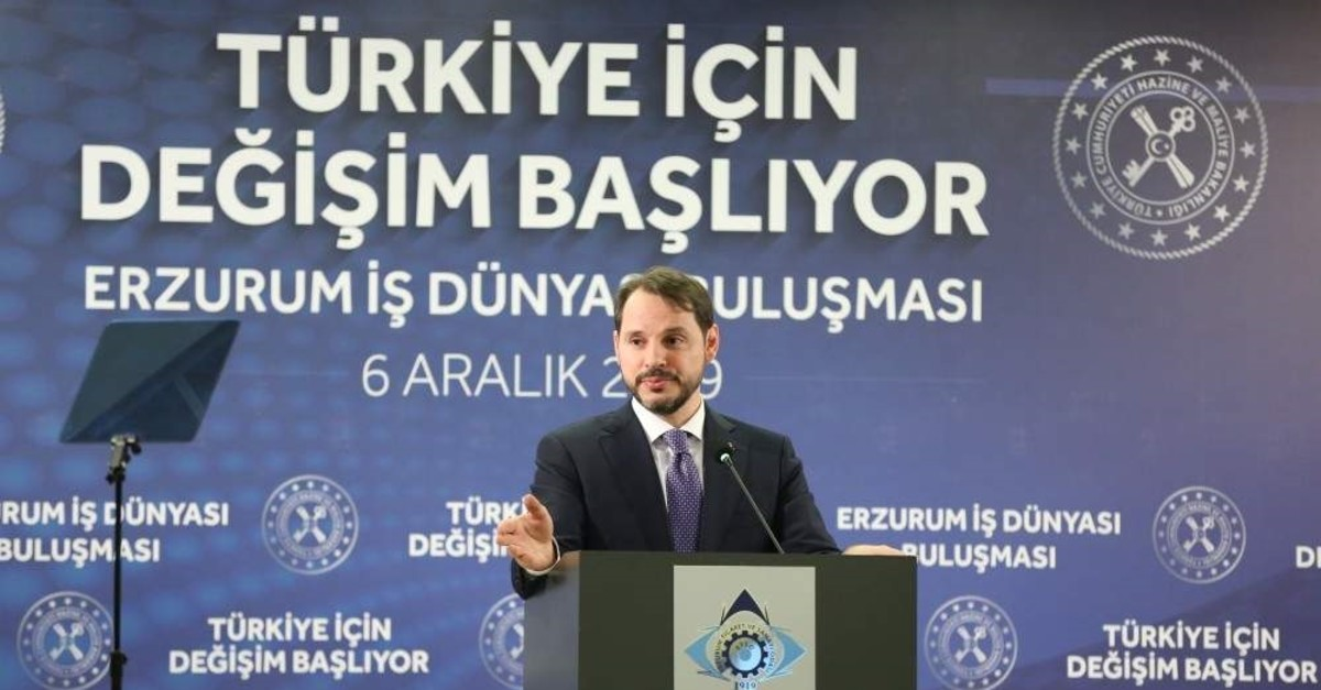Treasury and Finance Minister Berat Albayrak delivers a speech at a meeting of businesspeople, Erzurum, Turkey, Dec. 6, 2019. (AA Photo)