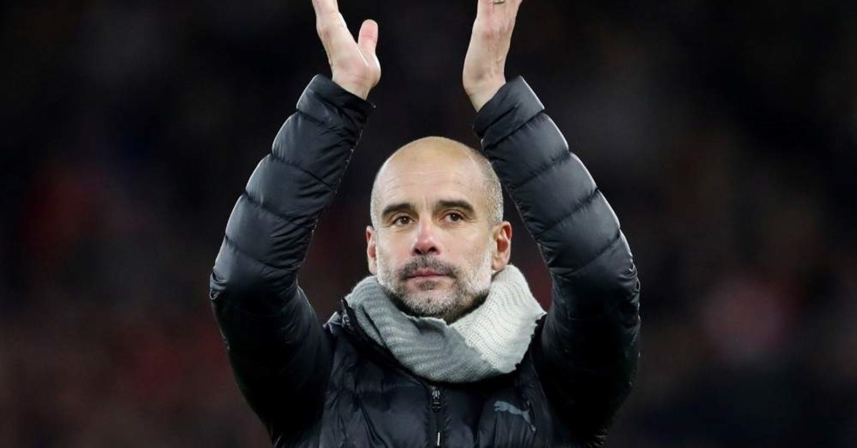 Pep Guardiola applauds fans after the match against Liverpool, Liverpool, Nov. 10., 2019. (Reuters Photo)