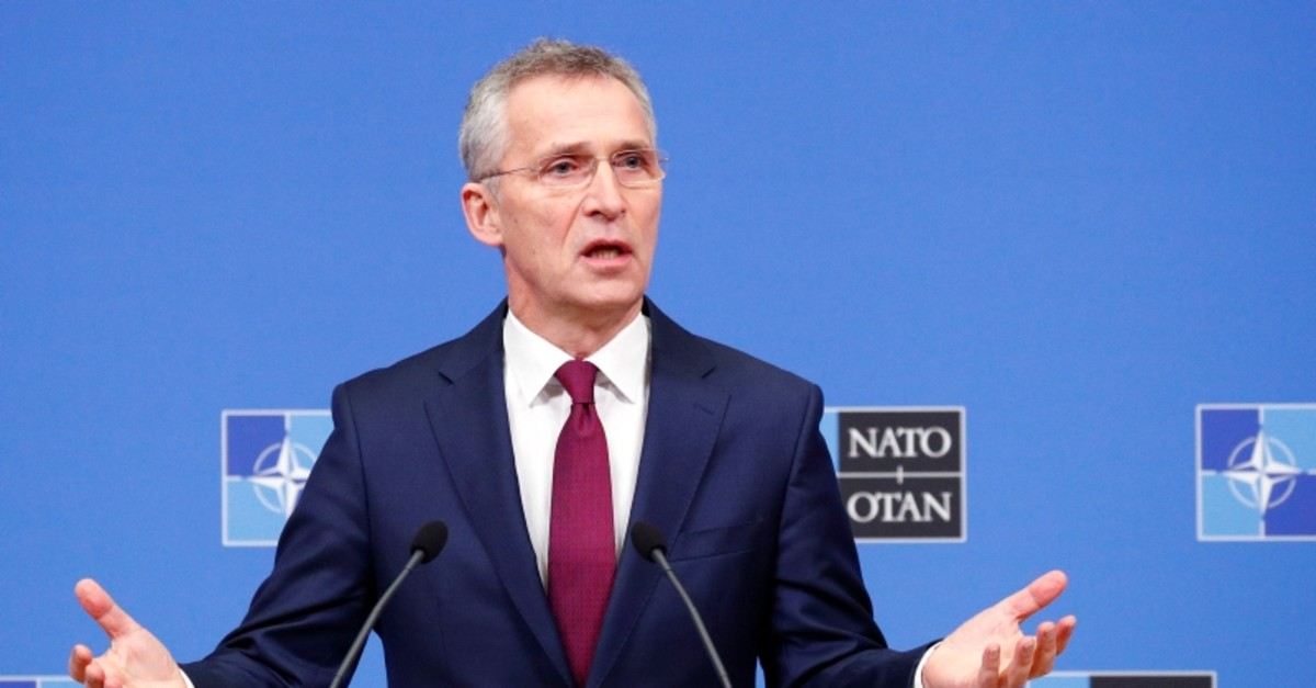 NATO Secretary General Jens Stoltenberg holds a news conference ahead of a NATO defence ministers meeting at the Alliance headquarters in Brussels, Belgium Feb. 11, 2020 (Reuters Photo)