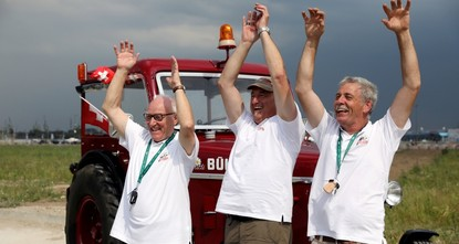 3 Switzerland fans drive to Moscow World Cup with tractor
