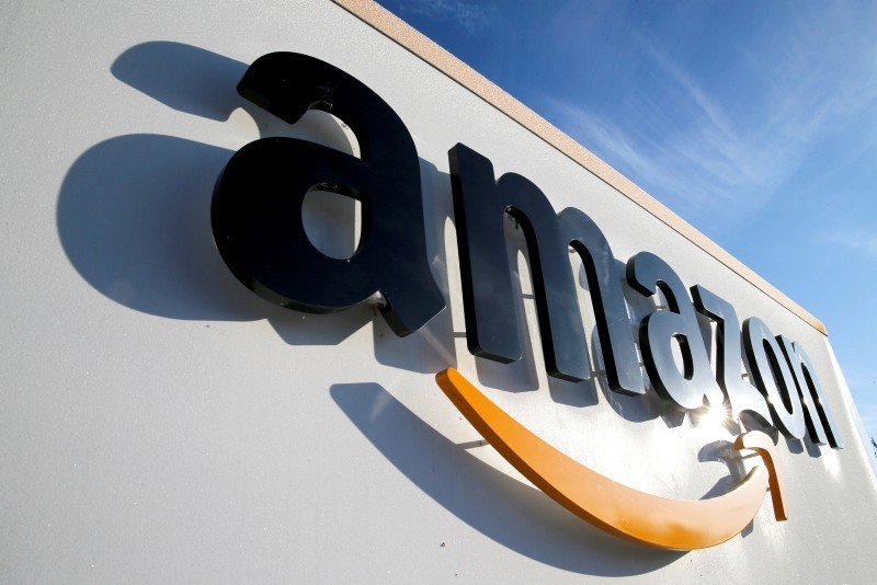 The logo of Amazon is seen at the company logistics centre in Boves, France, January 19, 2019 (Reuters Photo)