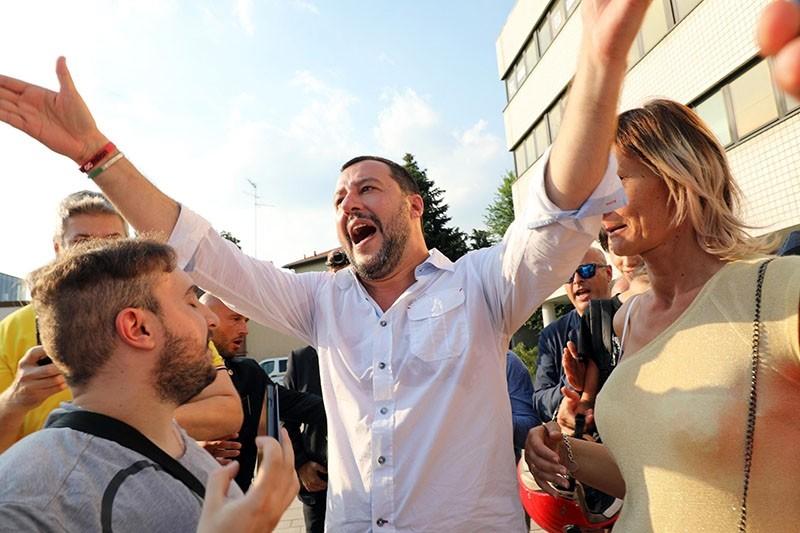 Italian Interior Minister Matteo Salvini (C) attends a local election rally in Cinisello Balsamo, near Milan, Italy, June 17, 2018. (EPA Photo)