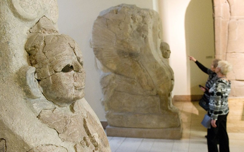 Two Sphinx of Hattusa that were smuggled from Turkey on display at the Pergamon Museum in Berlin, Germany. Turkey has been demanding the return of the figures since 1934. (EPA Photo)
