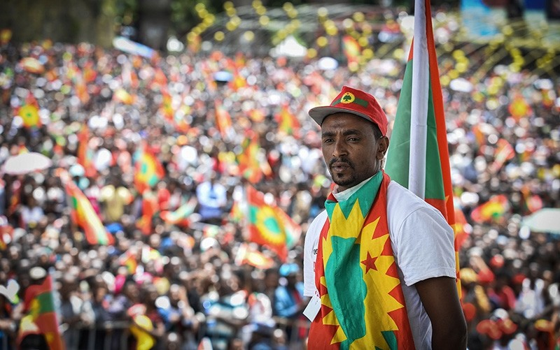 A man takes part in celebrations for the return of the formerly banned anti-government group the Oromo Liberation Front (OLF) at Mesquel Square in Addis Ababa, Ethiopia, on Sept. 15, 2018. (AFP Photo)